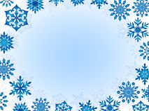 Greeting card with snowflakes. Around the perimeter, hand drawing vector illustration Royalty Free Stock Photography