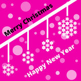 Greeting card with snowflakes and transparent flares. On a purple background Royalty Free Stock Photography