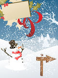 Greeting card with snowman. Vector illustration of a card on a winter background Stock Images