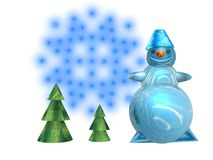 Greeting card snowman. Christmas greeting card with snowman and fir Stock Photos