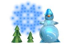 Greeting card snowman Stock Photos