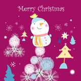 Greeting card with a snowman Stock Images