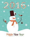 Greeting card 2016 with snowman. Christmas greeting card 2016 with snowman and birds stock illustration