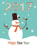 Greeting card 2017 with snowman Royalty Free Stock Image
