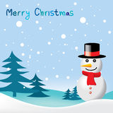 Greeting card with snowman for Christmas & New Year Stock Images