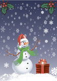 Greeting card - Snowman with a snowflakes. On blue background - Greeting card - Snowman with a snowflakes Stock Photos