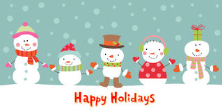 Greeting card with snowman, vector illustration Royalty Free Stock Images