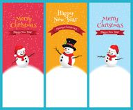 Christmas Greeting Card with snowman. Stock Photos
