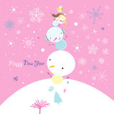 Greeting card with snowmen Stock Photo