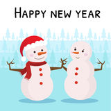 Greeting card with snowmen. Royalty Free Stock Photography