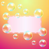 Greeting card and soap bubbles Stock Images