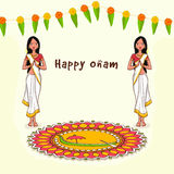 Greeting card for South Indian festival, Onam. Stock Photos