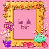 Greeting card with space for dexta and sweets Royalty Free Stock Images