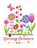Greeting card with spring funny flowers Royalty Free Stock Images