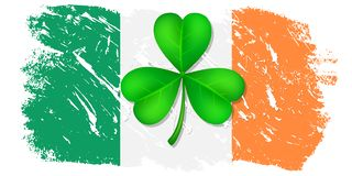 Greeting card St. Patrick. Clover leaf on Ireland flag background for happy St. Patricks Day. Ideal for greeting card, poster and web template. Vector stock illustration