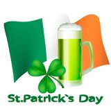 Greeting card St. Patrick. Clover leaf and a mug of green ale on the background of the flag element for Happy St. Patrick`s Day. Ideal for greeting card, poster stock illustration