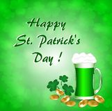 Greeting Card St. Patrick with gold coins a mug of green beer. Greeting Card St. Patrick with gold coins, a mug of green beer and clover Stock Images