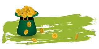 Greeting card St. Patrick. Hat full of gold coins on green grunge background for Happy St. Patrick`s Day. Ideal for greeting card, poster and web template vector illustration
