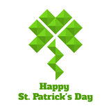 Greeting card for St. Patrick. Leaf clover of triangles. Stock Photography