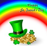 Greeting Card St. Patrick with rainbow and gold. Coins Stock Images
