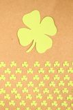Greeting Card St. Patrick's Day. Background for St. Patrick's Day. Silhouettes of green clover royalty free stock photo