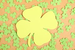 Greeting Card St. Patrick's Day. Background for St. Patrick's Day. Silhouettes of green clover stock photos