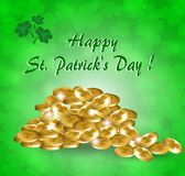 Greeting card for St. Patrick`s Day with a gold coins. Greeting card for St. Patrick`s Day with gold coins and clover leaves on a green background Vector Illustration