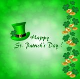 Greeting card for St. Patrick`s Day with a green hat, clover leaves and gold coins. On a green background Stock Photo
