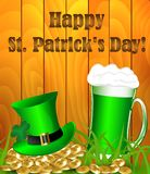 Greeting card for St. Patrick`s Day. Hat and gold and beer on a wooden background vector illustration
