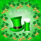 Greeting card for St. Patrick`s Day. With a hat, gold coins, clover leaves and a mug of green beer vector illustration