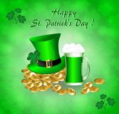 Greeting card for St. Patrick`s Day. With a hat, gold coins, clover leaves and a mug of green beer Royalty Free Stock Photos