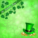 Greeting card for St. Patrick`s Day with a hat, gold coins, clover leaves. And a green ribbon Stock Illustration