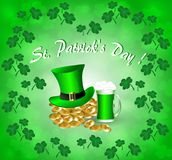 Greeting card for St. Patrick`s Day. With a hat, gold coins and a hat in the frame of the leaves of a clover stock illustration