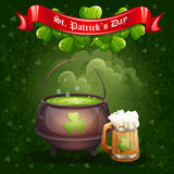 Greeting card for St. Patrick's Day with a mug of ale Royalty Free Stock Images