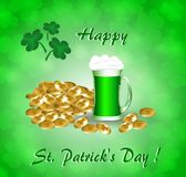 Greeting card for St. Patrick`s Day with a mug of green beer, gold coins and clover leaves. On a green background stock illustration