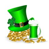 Greeting card for St. Patrick`s Day a mug of green beer. With a green hat, clover leaves and gold coins Royalty Free Stock Image
