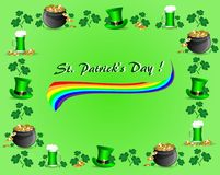 Greeting card for St. Patrick`s Day with a rainbow on a green background. Greeting card for St. Patrick`s Day with a mug of green beer, a pot of gold coins Vector Illustration