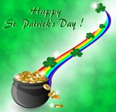 Greeting Card St. Patrick with a pot of gold coins. Greeting card for St. Patrick`s Day with a pot of gold coins, a rainbow and leaves of clover Vector Illustration