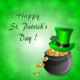 Greeting card for St. Patrick`s Day a pot of gold with a hat leprechaun. And clover leaves on a green background Royalty Free Stock Photo