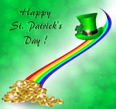 Greeting card for St. Patrick`s Day with a rainbow, gold coins and a hat. On a green background of the leaves of the clover Royalty Free Stock Photo