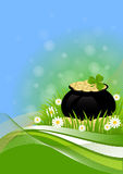 Greeting Card St. Patricks Day. Greeting card with clovers and pot of gold St. Patricks Day Royalty Free Stock Images