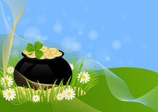 Greeting Card St. Patricks Day. Greeting card with clovers and pot of gold St. Patricks Day Stock Photo
