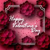 Greeting card for St. Valentine`s Day. The 14 of February. Flowers, roses are dark red, in paper style, origami. Volume with shadow. In a frame with an stock illustration