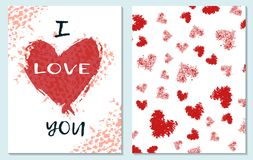 Greeting card for St. Valentine s Day. I miss you. Hand drawing. Vector illustration royalty free illustration