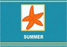 Greeting card starfish and spiral SUMMER Royalty Free Stock Photo