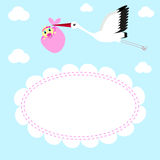 Greeting card Stork delivers baby girl Royalty Free Stock Image