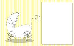 Greeting card with stroller for kids. Yellow background with stroller for newborn Stock Photos