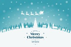 Greeting card with stylish Merry Christmas lettering