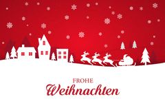 Greeting card with stylish Merry Christmas lettering in German