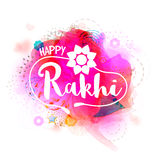 Greeting Card with Stylish Text for Happy Rakhi. Royalty Free Stock Photo